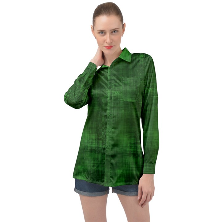 Green Grunge Long Sleeve Satin Shirt
