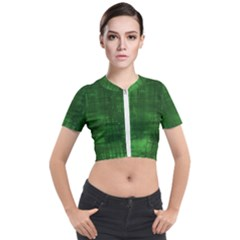 Green Grunge Short Sleeve Cropped Jacket by retrotoomoderndesigns