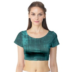 Turquoise Green Grunge Short Sleeve Crop Top by retrotoomoderndesigns