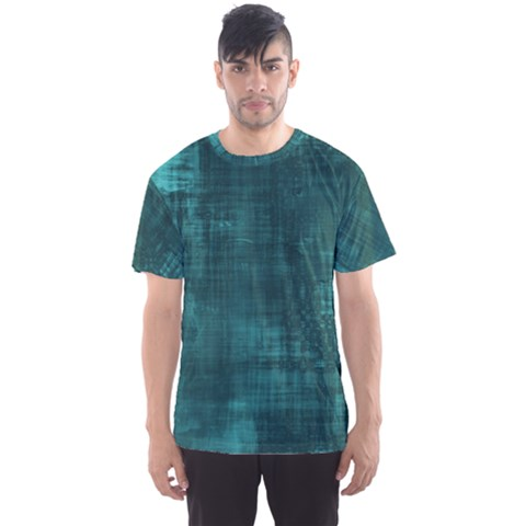Turquoise Green Grunge Men s Sports Mesh Tee by retrotoomoderndesigns