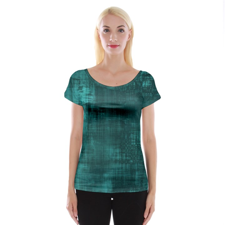 Turquoise Green Grunge Cap Sleeve Top