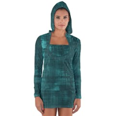 Turquoise Green Grunge Long Sleeve Hooded T-shirt by retrotoomoderndesigns