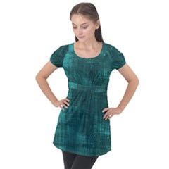 Turquoise Green Grunge Puff Sleeve Tunic Top by retrotoomoderndesigns