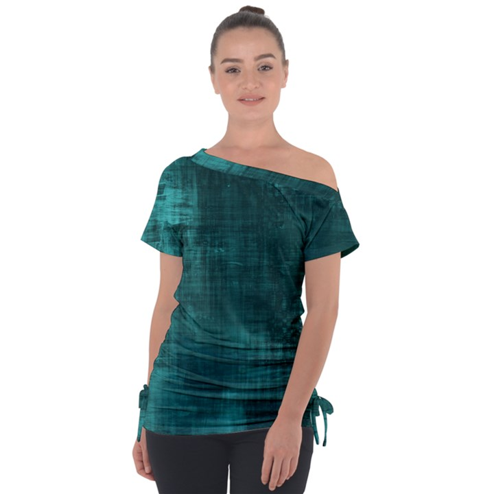 Turquoise Green Grunge Tie-Up Tee