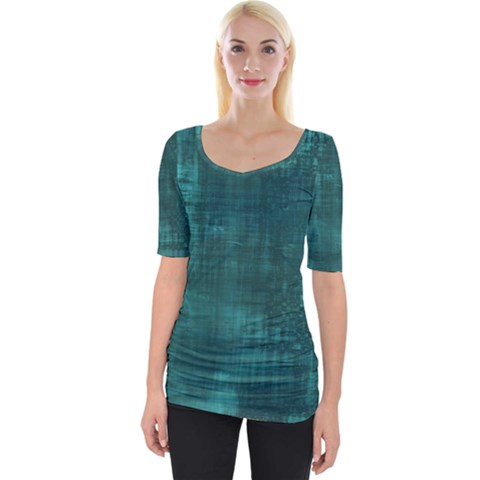 Turquoise Green Grunge Wide Neckline Tee by retrotoomoderndesigns