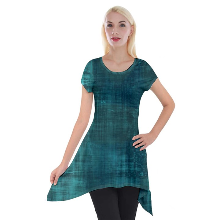 Turquoise Green Grunge Short Sleeve Side Drop Tunic