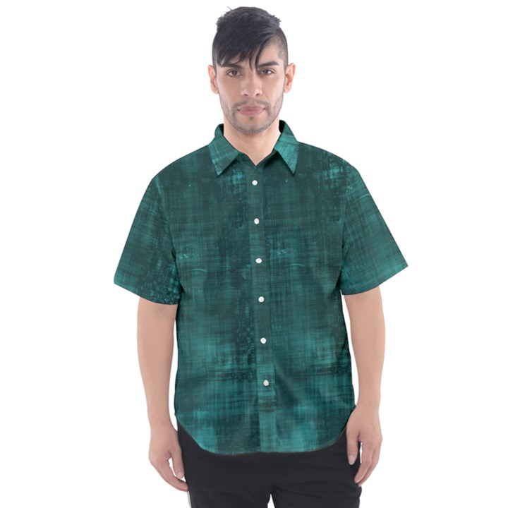 Turquoise Green Grunge Men s Short Sleeve Shirt