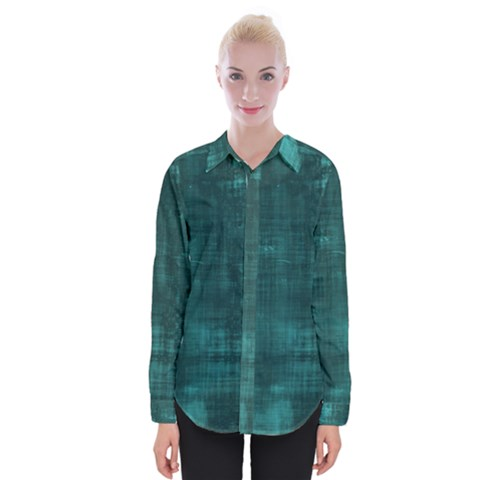 Turquoise Green Grunge Womens Long Sleeve Shirt by retrotoomoderndesigns