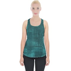 Turquoise Green Grunge Piece Up Tank Top by retrotoomoderndesigns
