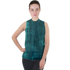 Turquoise Green Grunge Mock Neck Chiffon Sleeveless Top by retrotoomoderndesigns