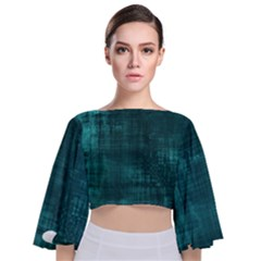 Turquoise Green Grunge Tie Back Butterfly Sleeve Chiffon Top by retrotoomoderndesigns
