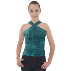 Turquoise Green Grunge Cross Neck Velour Top by retrotoomoderndesigns