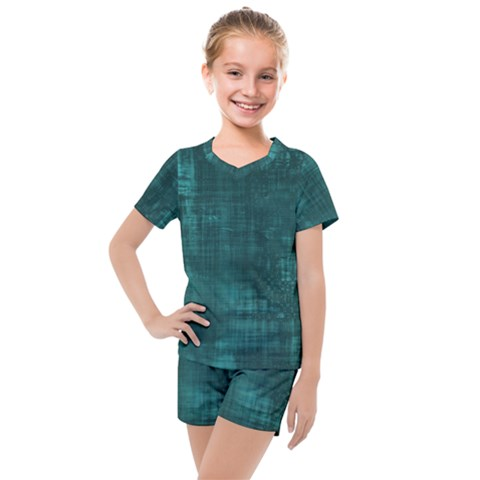 Turquoise Green Grunge Kids  Mesh Tee And Shorts Set by retrotoomoderndesigns