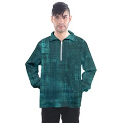 Turquoise Green Grunge Men s Half Zip Pullover by retrotoomoderndesigns
