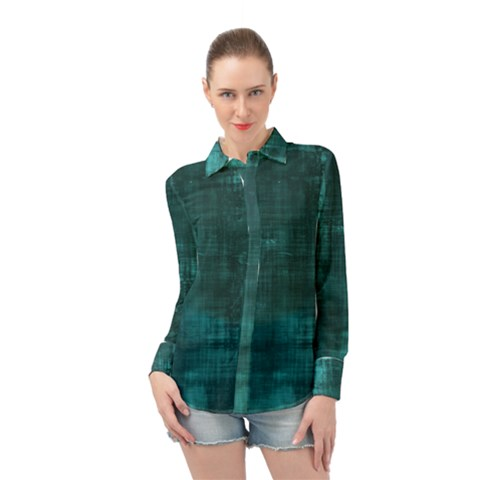 Turquoise Green Grunge Long Sleeve Chiffon Shirt by retrotoomoderndesigns