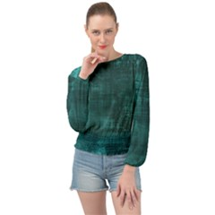 Turquoise Green Grunge Banded Bottom Chiffon Top
