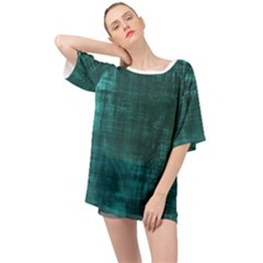 Turquoise Green Grunge Oversized Chiffon Top by retrotoomoderndesigns
