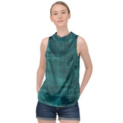 Turquoise Green Grunge High Neck Satin Top by retrotoomoderndesigns