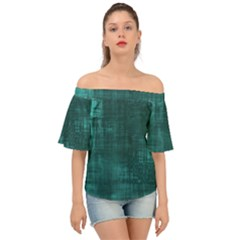 Turquoise Green Grunge Off Shoulder Short Sleeve Top