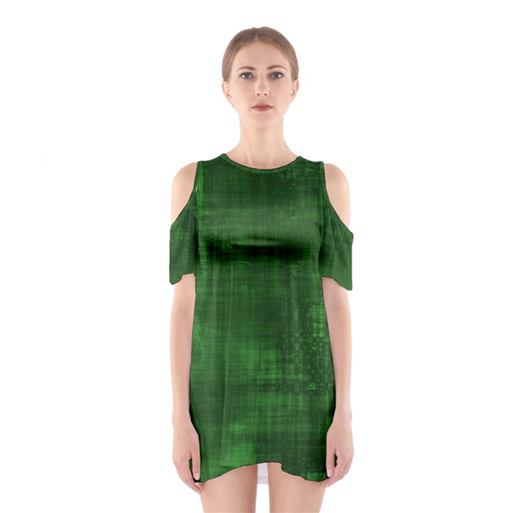 Green Grunge Shoulder Cutout One Piece Dress