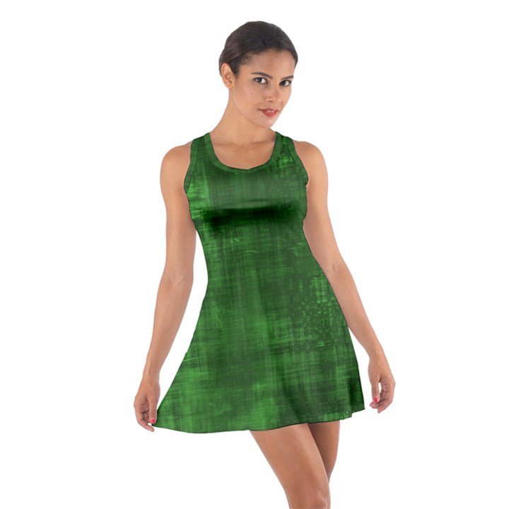 Green Grunge Cotton Racerback Dress