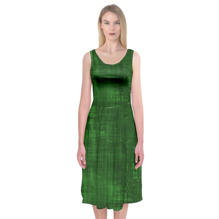 Green Grunge Midi Sleeveless Dress
