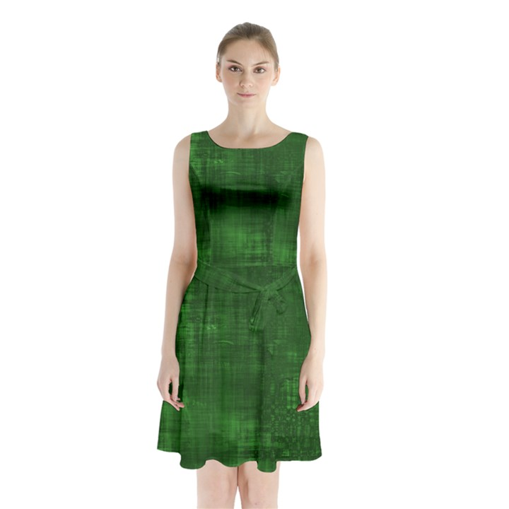 Green Grunge Sleeveless Waist Tie Chiffon Dress