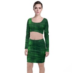 Green Grunge Top And Skirt Sets