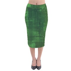 Green Grunge Velvet Midi Pencil Skirt