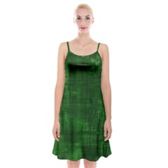 Green Grunge Spaghetti Strap Velvet Dress