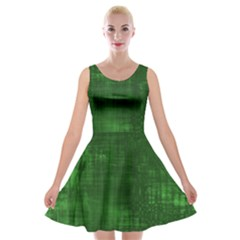 Green Grunge Velvet Skater Dress by retrotoomoderndesigns