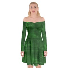 Green Grunge Off Shoulder Skater Dress