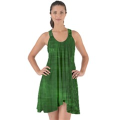 Green Grunge Show Some Back Chiffon Dress by retrotoomoderndesigns