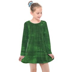 Green Grunge Kids  Long Sleeve Dress by retrotoomoderndesigns
