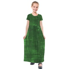 Green Grunge Kids  Short Sleeve Maxi Dress