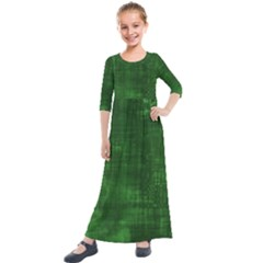 Green Grunge Kids  Quarter Sleeve Maxi Dress by retrotoomoderndesigns