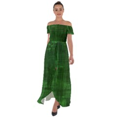 Green Grunge Off Shoulder Open Front Chiffon Dress by retrotoomoderndesigns