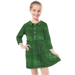 Green Grunge Kids  Quarter Sleeve Shirt Dress by retrotoomoderndesigns
