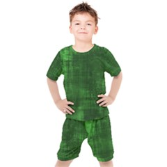 Green Grunge Kids  Tee And Shorts Set