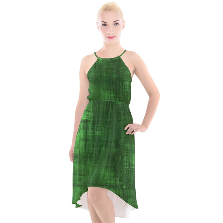 Green Grunge High-Low Halter Chiffon Dress