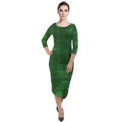 Green Grunge Quarter Sleeve Midi Velour Bodycon Dress
