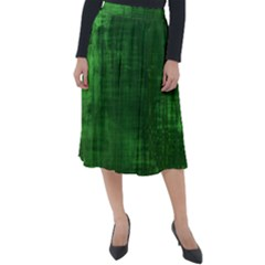 Green Grunge Classic Velour Midi Skirt
