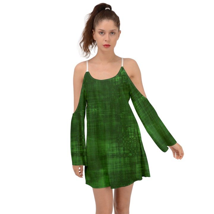 Green Grunge Kimono Sleeves Boho Dress