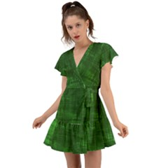Green Grunge Flutter Sleeve Wrap Dress by retrotoomoderndesigns