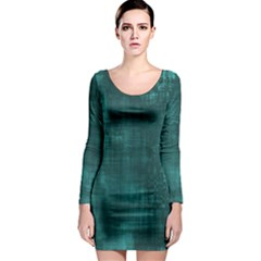 Turquoise Green Grunge Long Sleeve Bodycon Dress by retrotoomoderndesigns