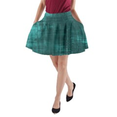 Turquoise Green Grunge A Line Pocket Skirt