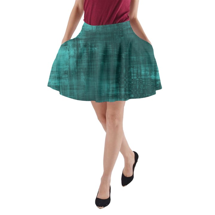 Turquoise Green Grunge A-Line Pocket Skirt