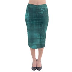 Turquoise Green Grunge Midi Pencil Skirt by retrotoomoderndesigns