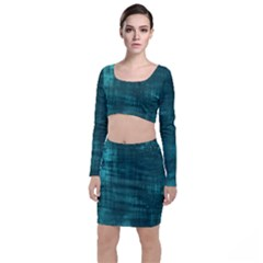 Turquoise Green Grunge Top And Skirt Sets