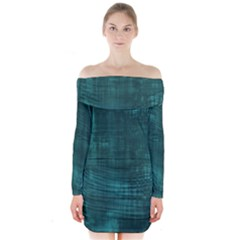 Turquoise Green Grunge Long Sleeve Off Shoulder Dress